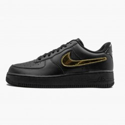 Nike Air Force 1 Black Metallic Gold Removable Swoosh Pack CT2252 001 Unisex Casual Shoes