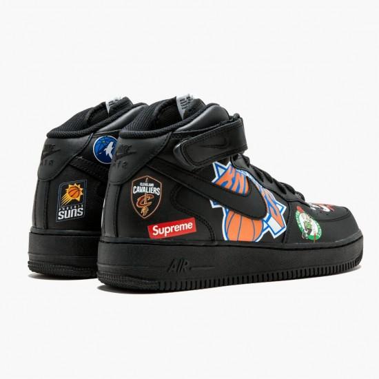 Nike Air Force 1 Mid Supreme NBA Black AQ8017 001 Unisex Casual Shoes