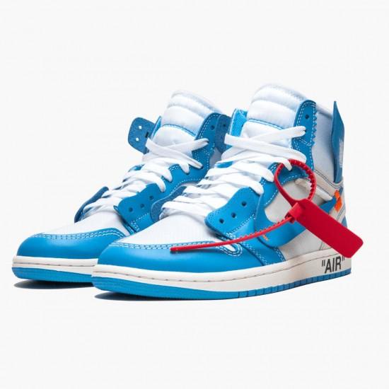 Air Jordan 1 Retro High Off White University Blue AQ0818 148 Mens Casual Shoes